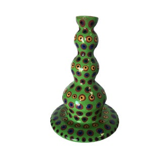 California Art Pottery Green Candlestick Holder by Fesnan Circa 1998 For Sale