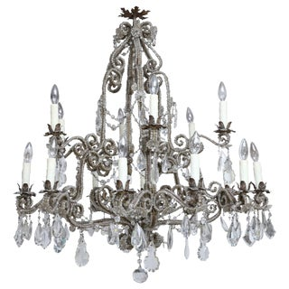 Large 19th Century Beaded and Crystal Chandelier from France