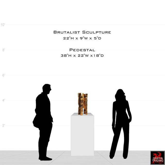 Handsome bronze abstract sculpture in the Brutalist style. This bold monolith sculpture with its cubist appearance was...