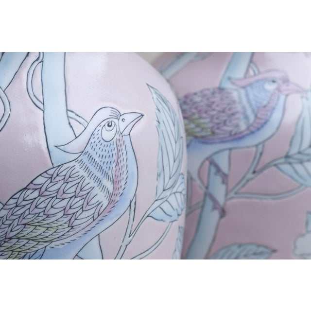 Mid 20th Century Decorative Chinese Vases in Blush, a Pair For Sale - Image 5 of 8