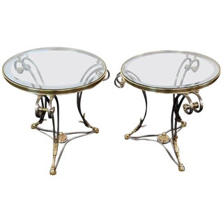 Pair of French Regency Style Glass Top Gueridons For Sale
