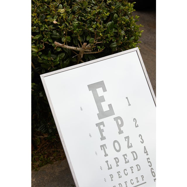 Metal Midcentury Eye Chart Mirror For Sale - Image 7 of 13