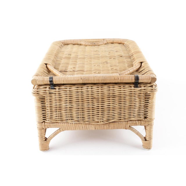 1970s Vintage Wicker Picnic Basket Folding Chair For Sale - Image 5 of 13