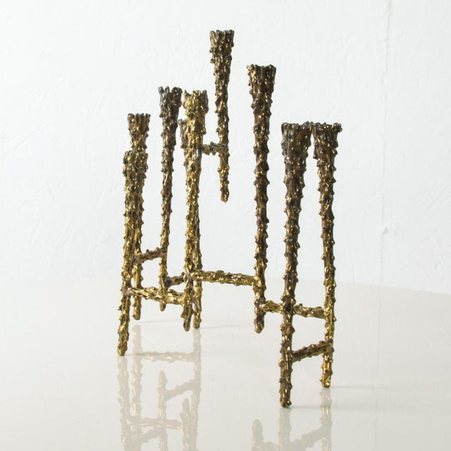Midcentury Modern Brutalist Tiered Brass Candle Holder For Sale - Image 10 of 11