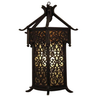 Asian Style Wooden Lantern Wall Sconce For Sale