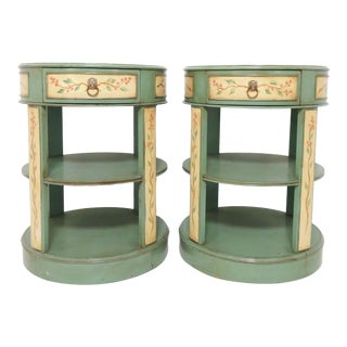 Hand Painted French Country Drum Side Tables For Sale