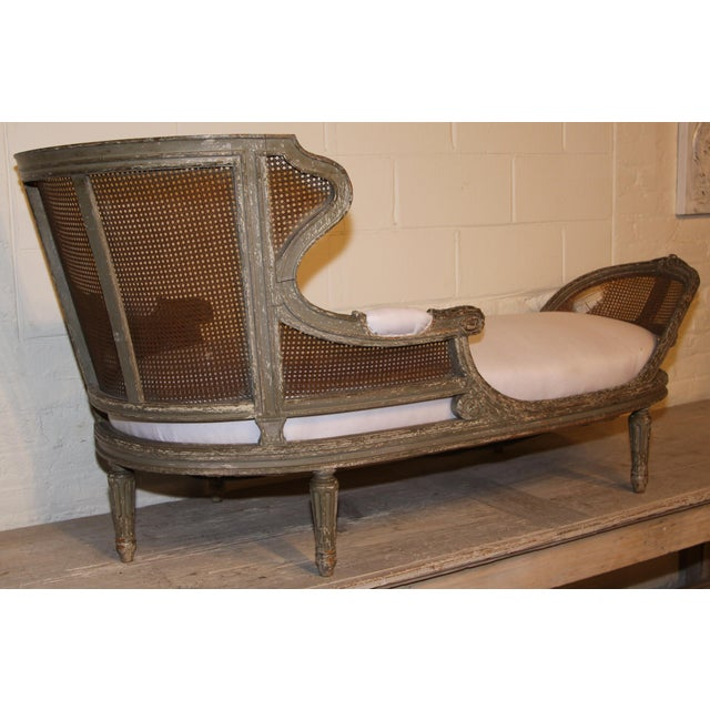 Mid 19th Century 1850 Antique French Caned Chaise Lounge For Sale - Image 5 of 9