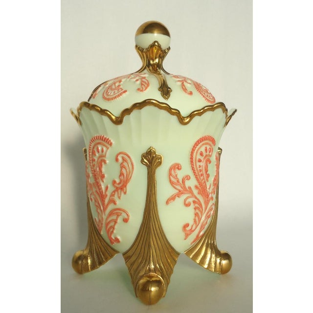 Gold & Coral Custard Glass Lidded Dish - Image 3 of 8