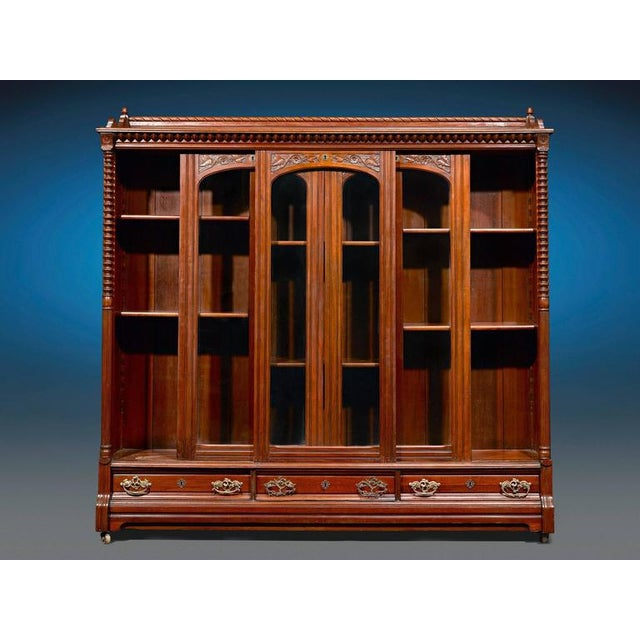 English Traditional English Mahogany Bookcase For Sale - Image 3 of 5