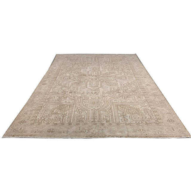Ivory Vintage Persian Heriz Rug Circa 1940 7' X 8'8 For Sale - Image 8 of 13
