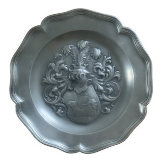 Vintage European Pewter Wall Plate With Coat of Arms For Sale
