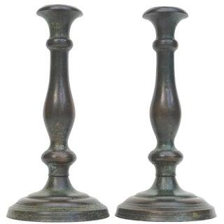 Tiffany Studios New York Patinated Bronze Art Nouveau Candlesticks For Sale