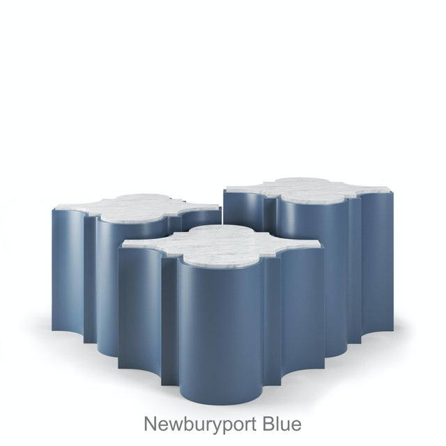 Sofia Nesting Tables, Set of 3 - Newburyport Blue For Sale In Los Angeles - Image 6 of 6
