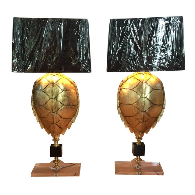 Magnificent Hand Crafted Faux Tortoise Lamps - 2 - Image 1 of 9