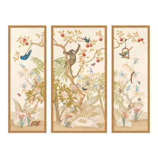 A Jungle Gathering by Allison Cosmos, Set of 3, in Gold Framed Paper, Large Art Print For Sale