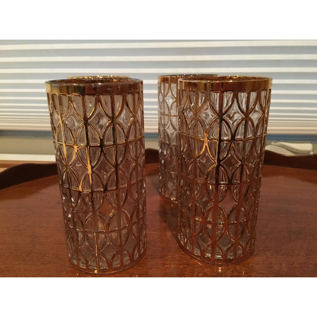 Mid-Century Imperial Glass 24k Gold Highball Glasses - Image 4 of 6