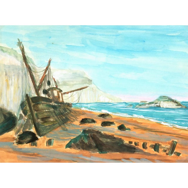 Vintage Seaside Ship Watercolor Painting, C. 1960 - Image 1 of 3