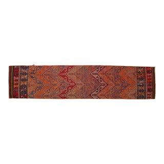 "Turkish Jajim Runner Hand Woven Wool Nomad Runner Rug - 2'6"" X 10'11"" For Sale"