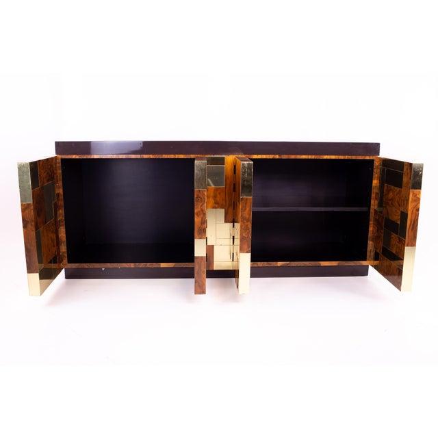 Paul Evans 1960s Vintage Paul Evans Brass and Burlwood Brutalist Sideboard For Sale - Image 4 of 7