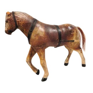 19thc Folky Hand Carved Scupture Of a Original Painted Horse For Sale
