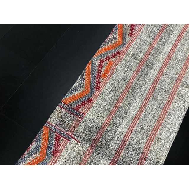 Textile Antique Turkish Embroidered Organic Runner Kilim Rug - 2′ × 7′5″ For Sale - Image 7 of 11