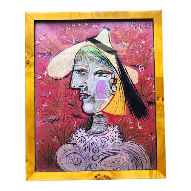 Picasso Figural Portrait Print in Pink and Framed in Burl Wood Frame For Sale