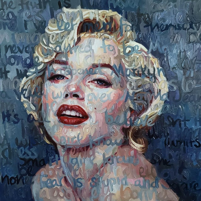 """Marilyn Monroe"" Oil Painting on Canvas by Christina Major For Sale In West Palm - Image 6 of 6"