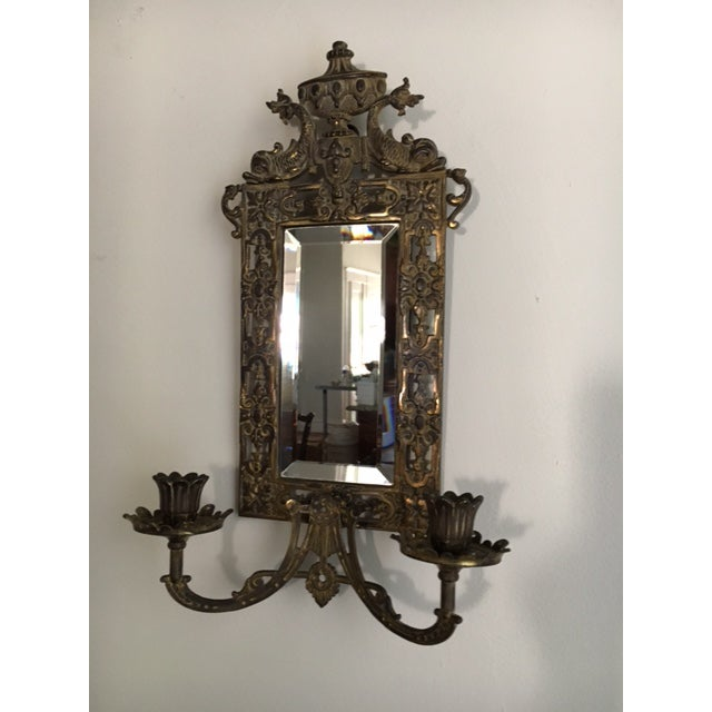 B & H (Bradley & Hubbard) mirrored candle sconce with dolphins; signed on back with B & H 03503/03609. Antique, Victorian,...