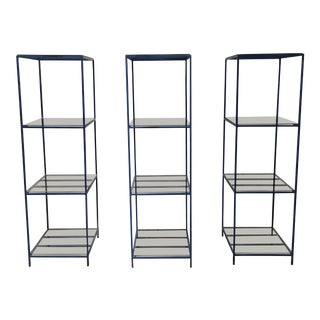 1960s French Blue Metal Shelves With Glass - Set of 3 For Sale