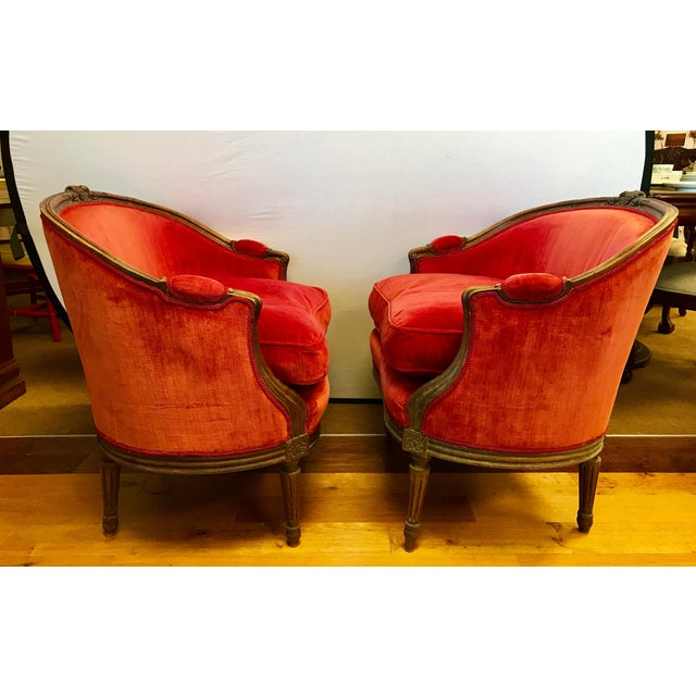 Pair of Belle Epoque French Louis XV Style Red Velvet Bergeres Chairs Armchairs For Sale - Image 12 of 12