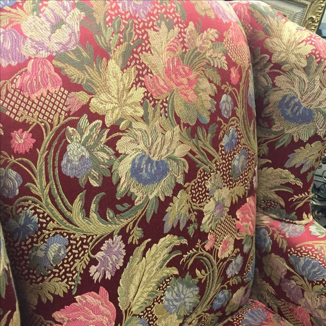 Red Floral Wing Back Chairs - A Pair - Image 4 of 7