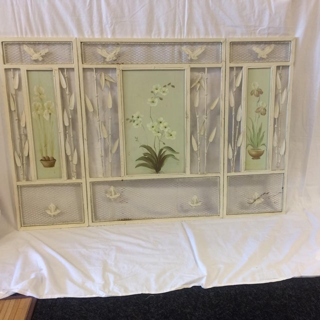 Vintage Shabby Chic Metal Hand Painted Fireplace Screen - Image 2 of 10