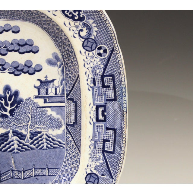 Late 19th Century Antique Staffordshire Blue Willow Platter Large Server Platter For Sale - Image 5 of 11