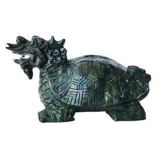 """Asian Mythological Dragon Turtle Sculpture 5.25"""" H by 9"""" W For Sale"""