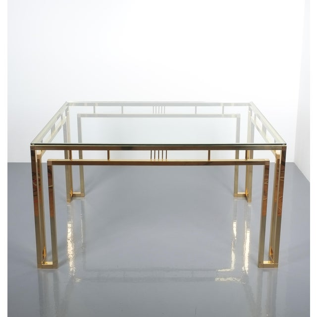 Italian Romeo Rega Breakfast or Dining Table Brass Glass, Italy 1960 For Sale - Image 3 of 12