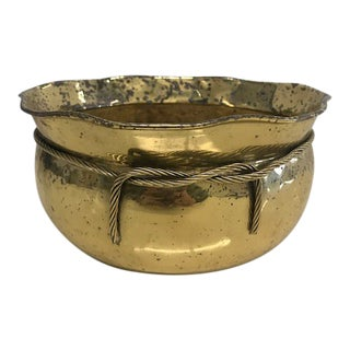 Vintage Brass Planter With Rope Accent For Sale