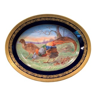 19th Century French Hand Painted and Gilt Porcelain Old Paris Limoges Platter For Sale