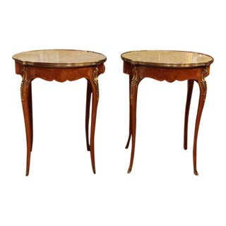 French Marble Top Brass Banding Gueridons With Shaped Legs - a Pair For Sale
