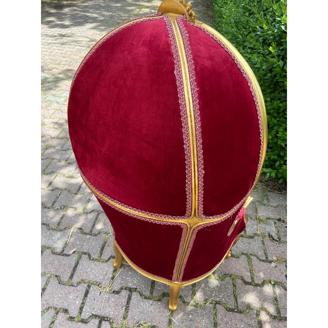French French Dark Red Tufted Throne Children Size Balloon Chair. For Sale - Image 3 of 10
