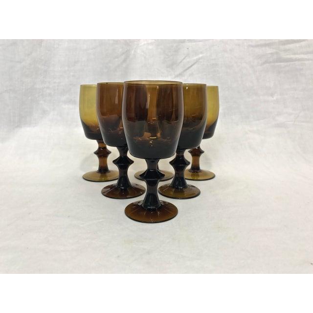 1960s Amber Stem Glasses - Set of 6 - Image 3 of 8