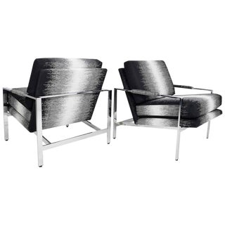Milo Baughman Lounge Chairs in New Upholstery by Romo - A Pair For Sale