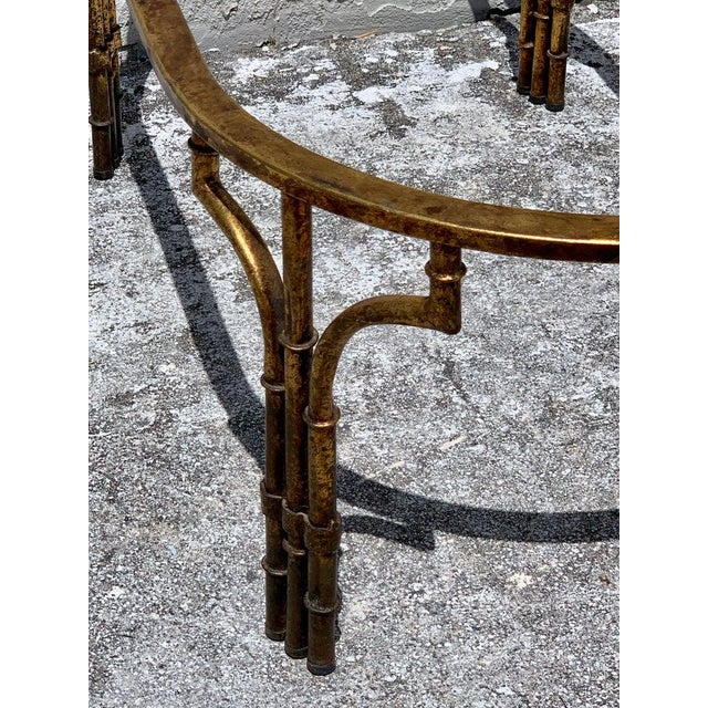 Metal Midcentury Italian Gilt Metal Faux- Bamboo Glass Top Coffee Table For Sale - Image 7 of 10