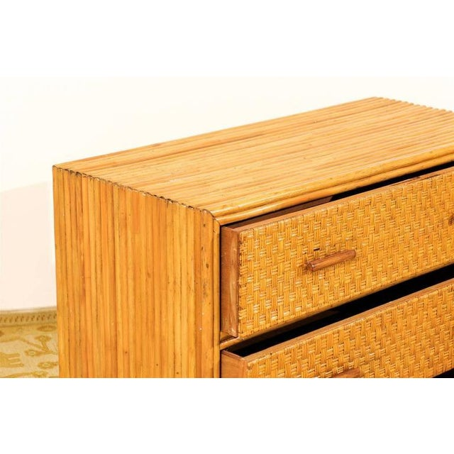 Handsome Pair of Restored Vintage Bamboo and Rattan Chests For Sale - Image 10 of 10