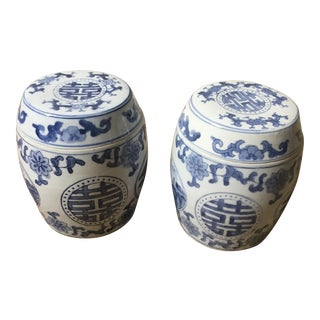 Hand Painted Vintage Chinoiserie Ginger Jars - A Pair