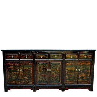 1910s Asian Antique Green Qinghai Sideboard