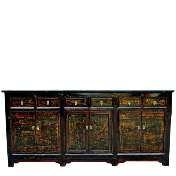 1910s Asian Antique Green Qinghai Sideboard For Sale