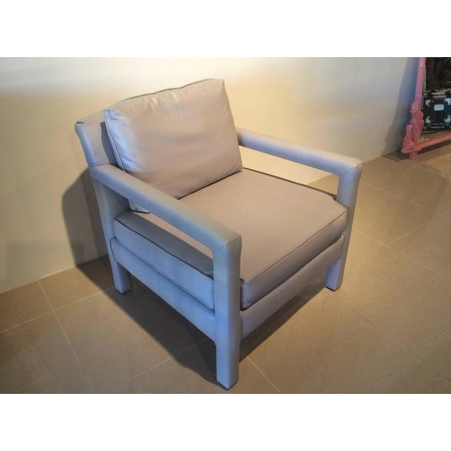 Vintage Milo Baughman Style Parsons Grey Leather Arm Chairs - A Pair - Image 3 of 12