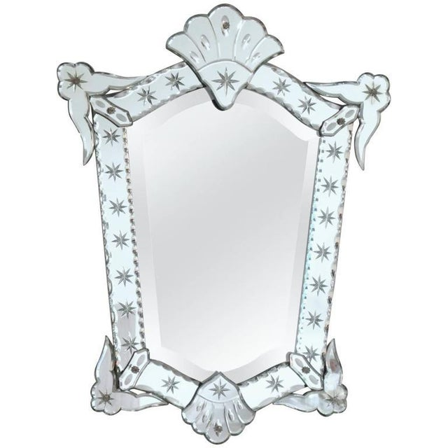 Wood French 1940s Venetian Style Mirror Beveling and Star Etching For Sale - Image 7 of 7
