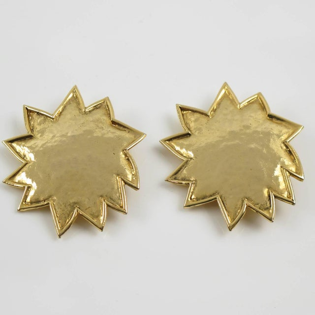 Contemporary Edouard Rambaud Paris Signed Clip on Earrings Gilt Metal Oversized Sun For Sale - Image 3 of 6