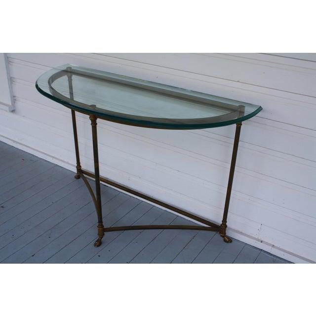 Brass & Glass Demi-Lune Table - Italian For Sale In Dallas - Image 6 of 12